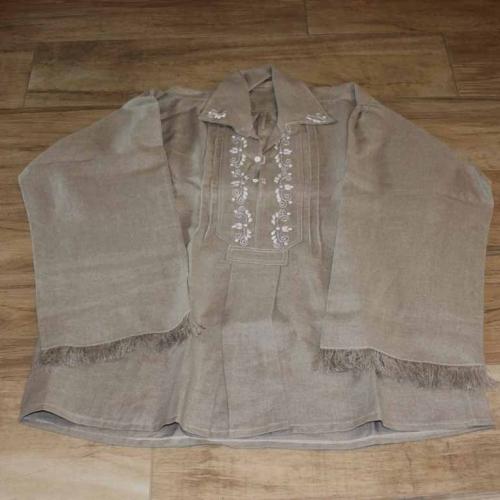 Koszula męska, lniana, szara, juhaska – rodzaj I