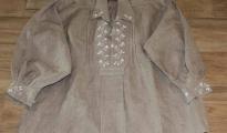 Koszula męska, lniana, szara - rodzaj I