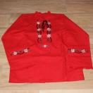 Koszula męska, lniana, czerwona, juhaska – rodzaj III