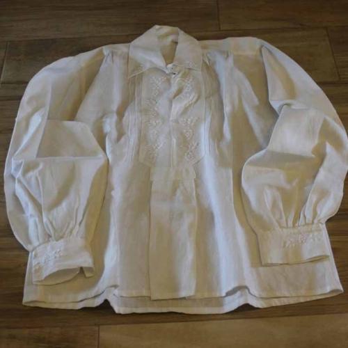 Męska koszula lniana, biała – rodzaj I
