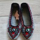 Pantofle z sukna r.36-39- szare